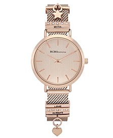 Ladies 2 Hands Slim Rose Gold-Tone Mesh Watch, 34 mm Case