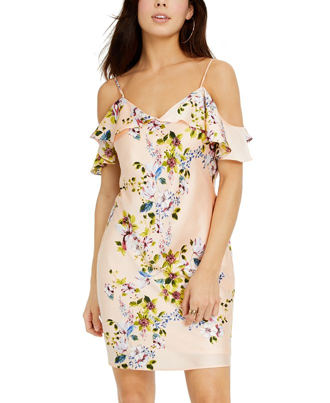 bebe Juniors' Cold-Shoulder Ruffled Floral-Print Bias Mini Dress