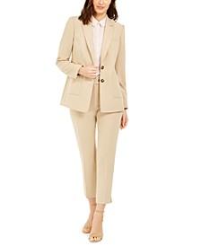 Blazer, Metallic-Trim Top & Dress Pants