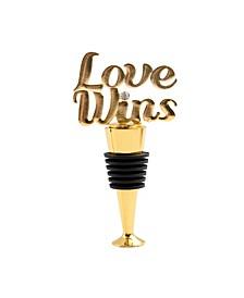 Gold Love Wins Bottle Stopper