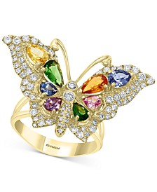 EFFY® Multi-Gemstone (2-1/3 ct. t.w.) & Diamond (3/4 ct. t.w.) Butterfly Ring in 14k Gold