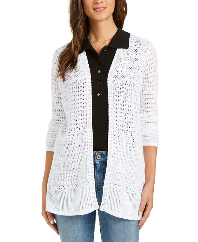 Charter Club Pointelle-Knit Open-Front Cardigan, Created for Macy's