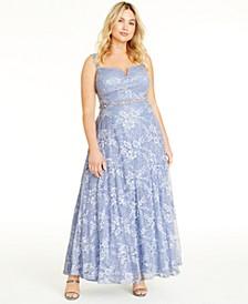 Trendy Plus Size Lace & Sequin Gown
