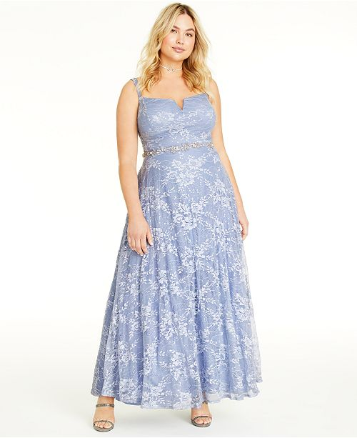 Say Yes to the Prom Trendy Plus Size Lace & Sequin Gown