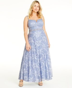 1930s Plus Size Dresses | Art Deco Plus Size Dresses Say Yes to the Prom Trendy Plus Size Lace  Sequin Gown $88.99 AT vintagedancer.com