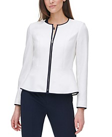 Contrast-Trim Zip-Front Jacket