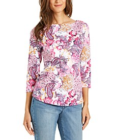 Cotton Printed Boat-Neck Top, Created for Macy's