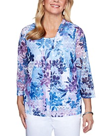 Classics Embellished Floral-Print Layered-Look Top