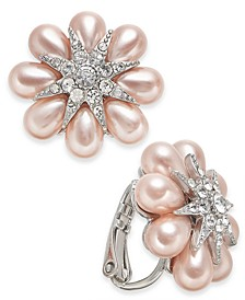INC Silver-Tone Crystal & Imitation Pearl Flower Clip-On Button Earrings, Created for Macy's