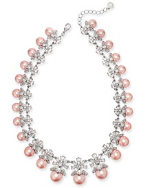 """Silver-Tone Crystal & Imitation Pearl Collar Necklace, 17"""" + 2"""" extender, Created for Macy's"""