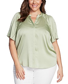 Plus Size Ladder-Trim Flutter-Sleeve Top
