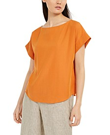Relaxed Boat-Neck Cap-Sleeve Top