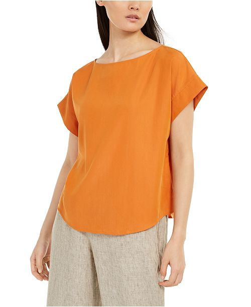 Eileen Fisher Relaxed Boat-Neck Cap-Sleeve Top