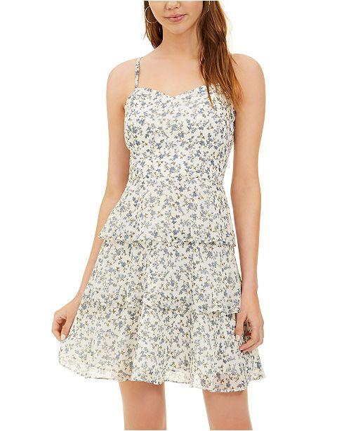 BCX Juniors' Floral Tiered Fit & Flare Dress