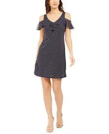 Petite Dotted Chiffon Cold-Shoulder Dress