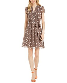 Petite Polka-Dot Pintuck-Front Dress
