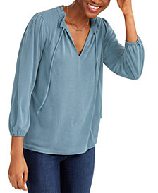 Lucky Brand Sand Wash Ruffled Peasant Top