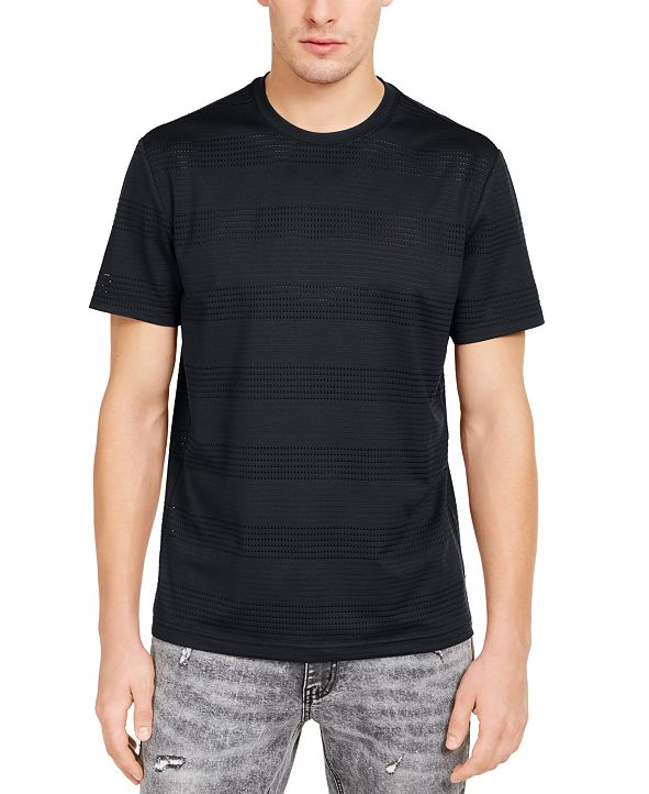 INC International Concepts INC Men's Perforated Striped T-Shirt, Created for Macy's