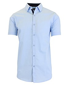 Men's Slim-Fit Short Sleeve Solid Dress Shirts