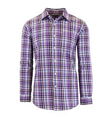 Men's Long Sleeve Slim-Fit Printed Cotton Dress Shirts