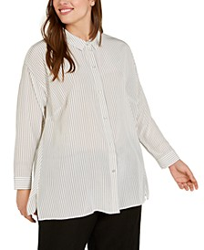 Plus Size Silk Striped Top