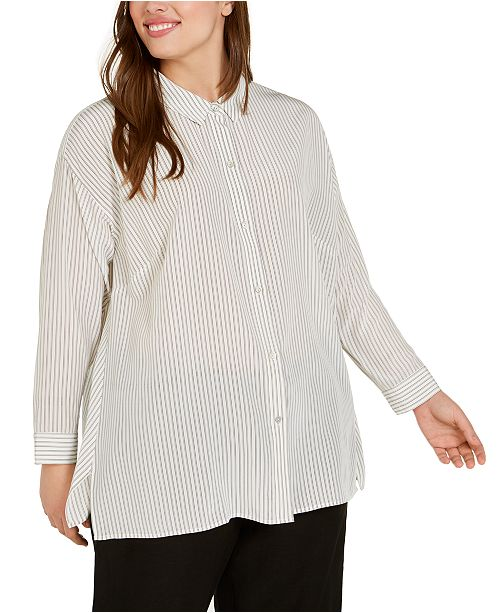 Eileen Fisher Plus Size Silk Striped Top