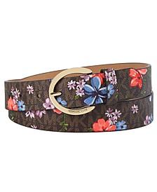 Floral-Print Logo Belt