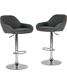 Set of 2 Alan Adjustable Height Swivel Barstool in Vintage-like Color with Contrasting Stitching