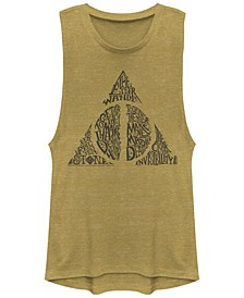 Harry Potter Deathly Hallows Text Filled Logo Festival Muscle Women's Tank