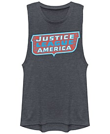 DC Justice League Of America Text Logo Festival Muscle Women's Tank