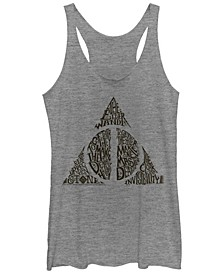 Harry Potter Deathly Hallows Text Symbol Tri-Blend Women's Racerback Tank