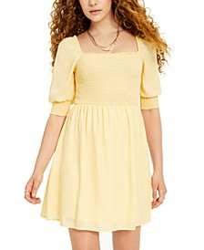 Juniors' Smocked Puff-Sleeve Dress