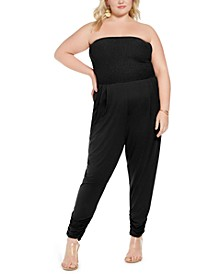 Trendy Plus Size Smocked-Top Jumpsuit
