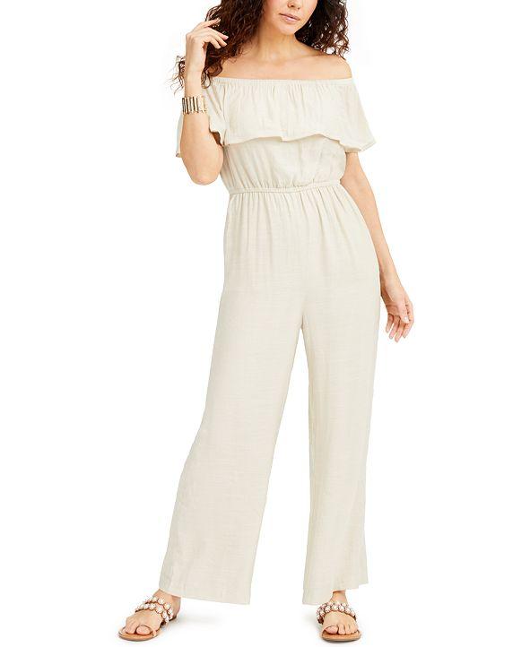 Thalia Sodi Off-The-Shoulder Jumpsuit, Created for Macys