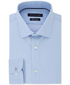 Men's Slim-Fit Non-Iron TH Flex Performance Stretch Dot-Print Supima Cotton Dress Shirt