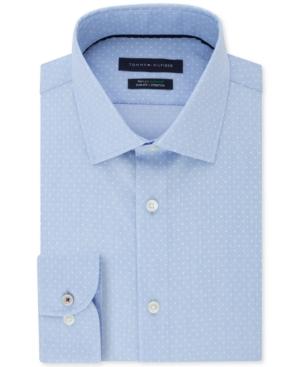Tommy Hilfiger Men's Slim-Fit Non-Iron Th Flex Performance Stretch Dot-Print Supima Cotton Dress Shirt
