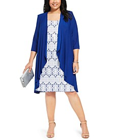 Plus Size Printed Dress and Jacket