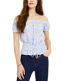 Juniors' Smocked Lace-Up Off-The-Shoulder Blouse