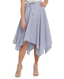 Striped Asymmetrical-Hem Linen Skirt