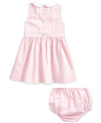 RALPH LAUREN Polo Baby Girl Seersucker Dress /& Bloomer Set