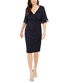 Connected Flutter-Sleeve Lace Sheath Dress