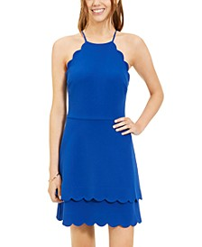 Juniors' Scallop-Trim A-Line Dress