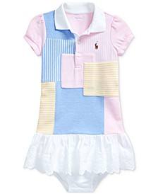 폴로 랄프로렌 여아용 패치워크 원피스 Polo Ralph Lauren Baby Girls Patchwork Cotton Dress & Bloomer,Blue Multi