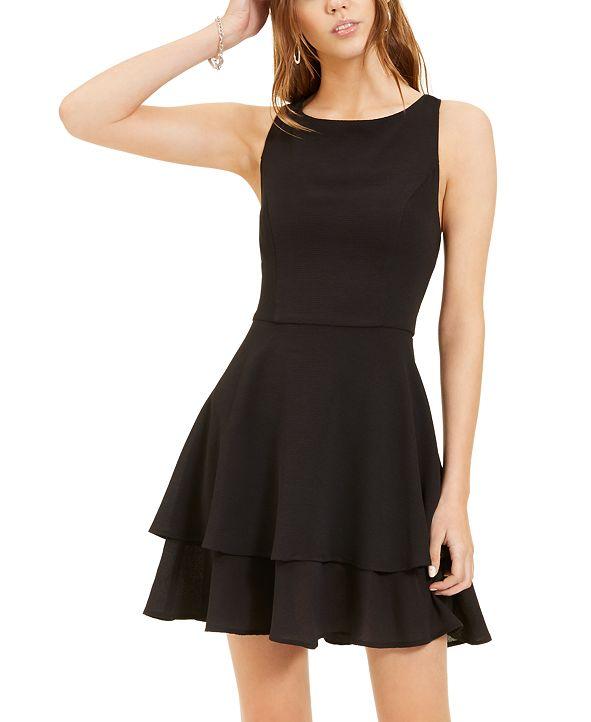 B Darlin Juniors' Double-Hem A-Line Dress