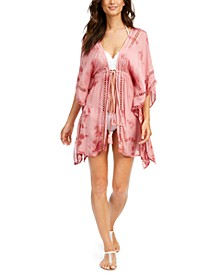 Crochet-Trim Tie-Front Kimono Swim Cover-Up