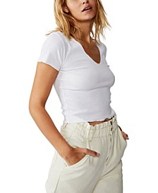 Arden Raw Edge V-Neck Short Sleeve Top