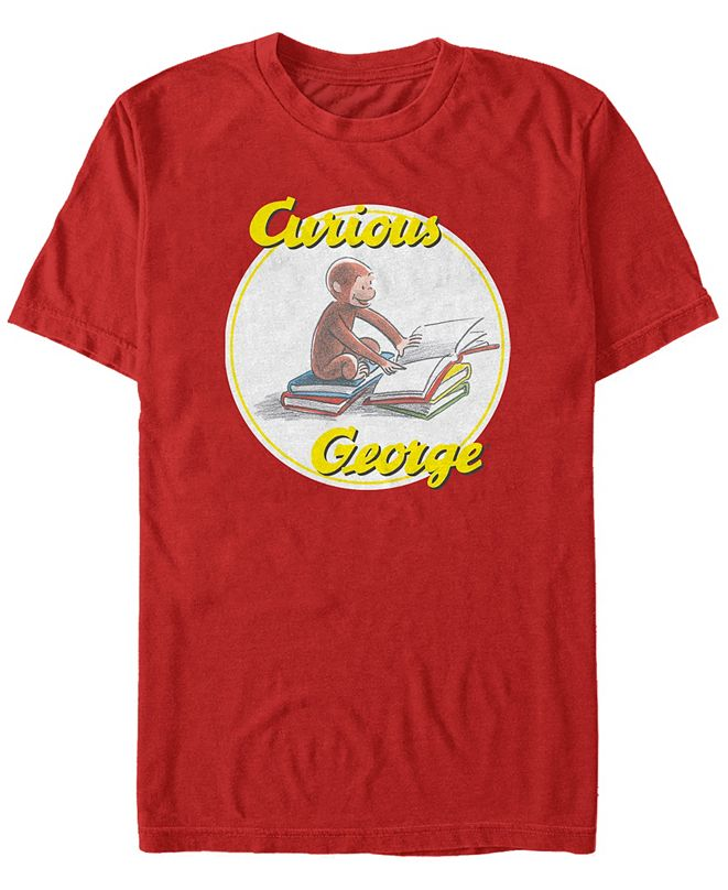 Fifth Sun Curious George Men's Reading Poster Short Sleeve T-Shirt
