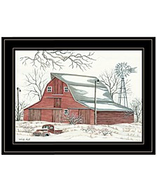 Trendy Decor 4u Winter Barn With Pickup Truck by Cindy Jacobs, Ready to Hang Framed Print Collection
