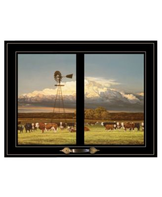 Summer Pastures Holstein cows with windmill by Bonnie Mohr, Ready to hang Framed Print, White Window-Style Frame, 19
