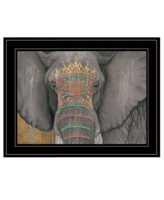 Tattooed Elephant by Britt Hallowell, Ready to hang Framed Print, White Frame, 19